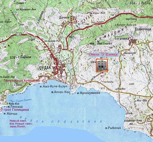Карта проезда от Судака к Капселю